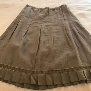 JJill Khaki Skirt with ruffled hem M NWT